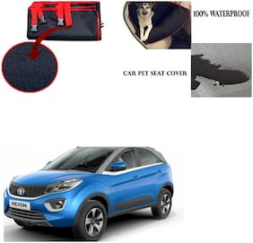 Feelitson Car Waterproof Pet/Dog Carriers Seat Cover Black and Red for Tata Nexon