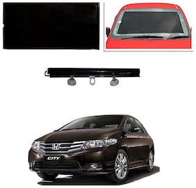 Feelitson Car Front/Rear Roll Up Type Horizontal Roller Film Windshield Sunshade/Curtain with UV Protection 1 pc Black For City Ivtec Old