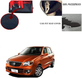 Feelitson Car Waterproof Pet/Dog Carriers Seat Cover Black and Red for Maruti Suzuki Alto K10
