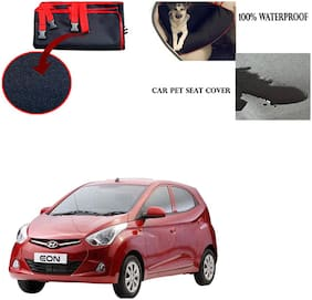 Feelitson Car Waterproof Pet/Dog Carriers Seat Cover Black and Red for Hyundai Eon