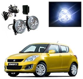 Feelitson Car 3Led Drl Fog Lamp Light With Wiring And Switch Set Of 2 For Swift Type-4