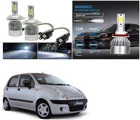 Feelitson Car C6 H4 Compact Design 36W/3800Lm Led Headlight Conversion Kit High/Low Beam Bulb Driving Lamp 6500K (Pack Of 2) White For Daewoo Matiz
