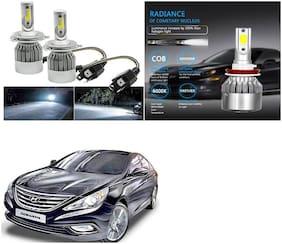 Feelitson Car C6 H4 Compact Design 36W/3800Lm Led Headlight Conversion Kit High/Low Beam Bulb Driving Lamp 6500K (Pack Of 2) White For Hyundai Sonata Fluidic