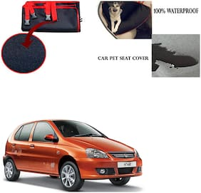 Feelitson Car Waterproof Pet/Dog Carriers Seat Cover Black and Red for Tata Indica