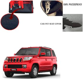 Feelitson Car Waterproof Pet/Dog Carriers Seat Cover Black and Red for Mahindra TUV 300