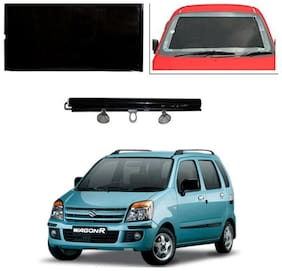 Feelitson Car Front/Rear Roll Up Type Horizontal Roller Film Windshield Sunshade/Curtain with UV Protection 1 pc Black For WagonR 2006-2010