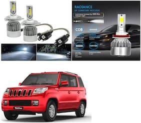 Feelitson Car C6 H4 Compact Design 36W/3800Lm Led Headlight Conversion Kit High/Low Beam Bulb Driving Lamp 6500K (Pack Of 2) White For Mahindra Tuv 300