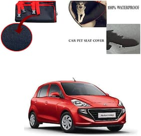 Feelitson Car Waterproof Pet/Dog Carriers Seat Cover Black and Red for Hyundai Santro 2018