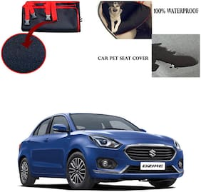 Feelitson Car Waterproof Pet/Dog Carriers Seat Cover Black and Red for Maruti Suzuki Swift Dzire 2017
