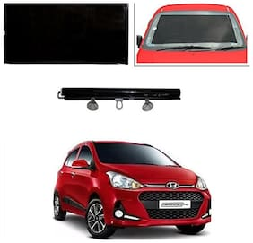 Feelitson Car Front/Rear Roll Up Type Horizontal Roller Film Windshield Sunshade/Curtain with UV Protection 1 pc Black For I10 Grand 2017