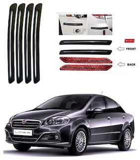 feelitson Car Bumper Protector Safety Guard Single Chrome Silver Strip (Set of 4) Black Silver for Linea