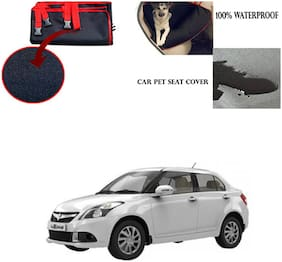 Feelitson Car Waterproof Pet/Dog Carriers Seat Cover Black and Red for Maruti Suzuki Swift Dzire