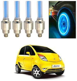 Feelitson Car Tyre Led Light Rim Valve Cap Flashing With Motion Sensor Blue Set of 4 for Nano Type-1