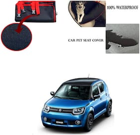Feelitson Car Waterproof Pet/Dog Carriers Seat Cover Black and Red for Maruti Suzuki Ignis