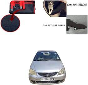 Feelitson Car Waterproof Pet/Dog Carriers Seat Cover Black and Red for Tata Indica V2 New