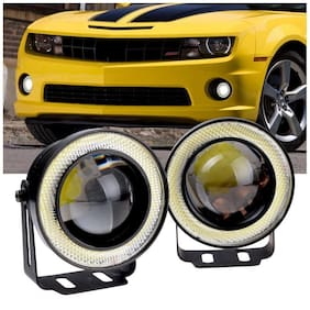 FOG LIGHT WHITE LIGHT 3 HIGH POWER LED PROJECTOR FOG LIGHT COB WITH WHITE ANGEL EYE RING 15W SET OF 2;LED PROJECTOR ANGLE WITH White HALO RING AND 2PCS CLAMP