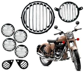 For RE Bike Black & Chrome Headlight Grill Cover Combo Bullet Classic 350 &500