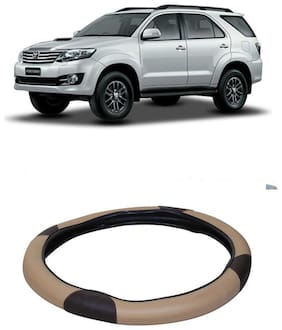 Fortuner Beige&Black Steering Cover