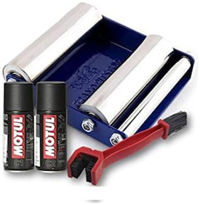 Free Chain Cleaning brush with Motul Combo of C1 Chain Clean and C2 Chain Lube (150 ml) and Paddock Stand Replacement - GRoller Small (Bikes < 170 kg) for Chain Cleaning and Lubrication