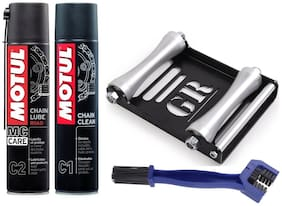 Free Chain Cleaning brush with Motul Combo of C1 Chain Clean and C2 Chain Lube (400 ml) and Paddock Stand Replacement - GRoller Large (Bikes < 270 kg) for Chain Cleaning and Lubrication