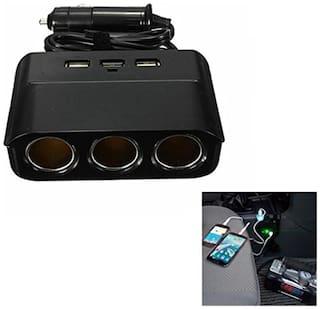 Futaba Universal 3 Way Car Cigarette Charger Socket Adapter - Black