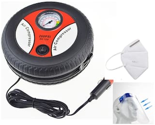 G Gapfill Heavy Wheel Shape Duty Bike / Car Tyre Inflator Air Compressor With Free Face Shield And Mask