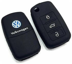 G&S Traders Silicon Key Cover for Volkswagen Polo;Vento;Jetta Flip Key Remote (Black) Key Pack of two (2)