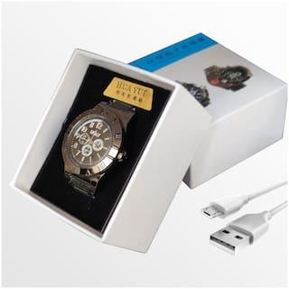 Gabbar 2 in 1 Rechargeable Cigarette Lighter Cum Analog Black Dial Quartz Men Wrist Watch