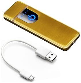 Gabbar Sensor Touch Rechargeable Lighter with Battery Indication and USB Charging Cable