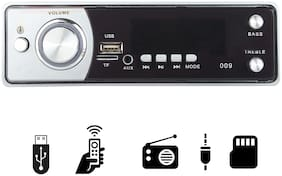 Gadget Deals 009 Silver Single Din USB/FM/AUX/MMC with 3.5mm AUX Cable Car Stereo