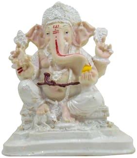 Ganesha White Big glossy made for home d cor Showpiece