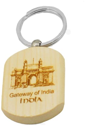Gateway of India Engraved Handcrafted Wooden Key Chain