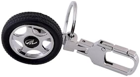 GCT Black Silver Spinning Tyre Rotating Wheel Hook Locking Metal Keyring for Car Bike Men Women (KC-2) Compatible with Mahindra Keychain