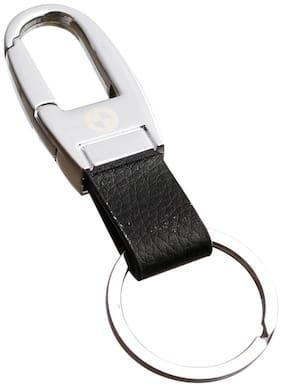 GCT Hook Locking Black Leather Silver Metal Keyring for Car Bike Men Women (KC-34) Compatible with BMW Keychain