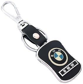 GCT Hook Locking Black Leather Silver Metal Keyring for Car Bike Men Women (KC-39) Compatible with BMW Keychain