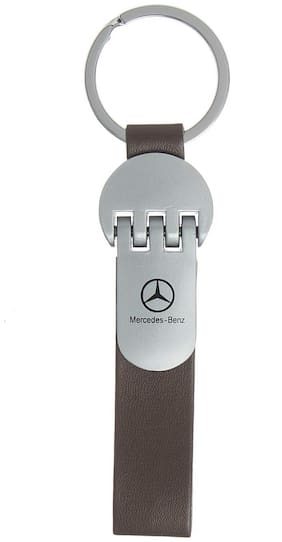 GCT Brown Leather Silver Metal Keyring for Car Bike Men Women (KC-46) Compatible with Mercedes Benz Keychain