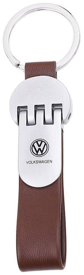 GCT Brown Leather Silver Metal Keyring for Car Bike Men Women (KC-46) Compatible with Volkswagen VW Keychain
