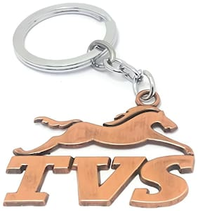 GCT Brown Metal Keyring for Car Bike Scooty Men Women (KC-16) Compatible with TVS Keychain