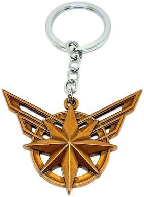 GCT Captain Marvel Shield Logo Avengers Female Superhero (KC-4) Brown Metal Keychain for Car Bike Men Women Keyring