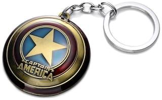 GCT Captain America Shield Avengers Superhero (KC-2) Antique Gold Metal Keychain for Car Bike Men Women Keyring