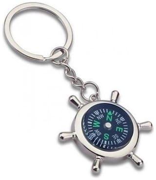 GCT Anchor Wheel Design Compass (KC-31C) Silver Metal Keychain for Car Bike Men Women Keyring