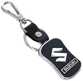 GCT Hook Locking Black Leather Silver Metal Keyring for Car Bike Scooty Men Women (KC-39) Compatible with Maruti Suzuki Keychain