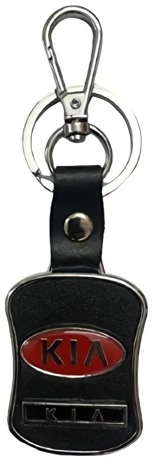 GCT Hook Locking Black Leather Silver Metal Keyring for Car Bike Men Women (KC-39) Compatible with Kia Car Keychain