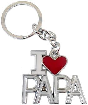 GCT I Love PAPA | DAD | Fathers Day Gift Heart (KC-1) White Red Metal Keychain for Car Bike Men Women Kids Keyring
