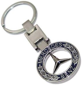 GCT Two Sided Blue Silver Metal Keyring for Car Bike Men Women (KC-16B/2) Compatible with Mercedes Benz Keychain