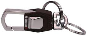 GCT Omuda Button Operated Hook Locking Two Rings (KC-3) Brown Silver Metal Keychain for Car Bike Men Women Keyring
