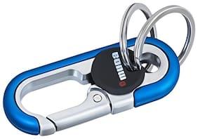 GCT Omuda Hook Locking Two Rings (KC-39) Blue Silver Metal Keychain for Car Bike Men Women Keyring