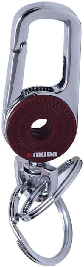 GCT Omuda Hook Locking Two Rings (KC-15) Brown Silver Metal Keychain for Car Bike Men Women Keyring