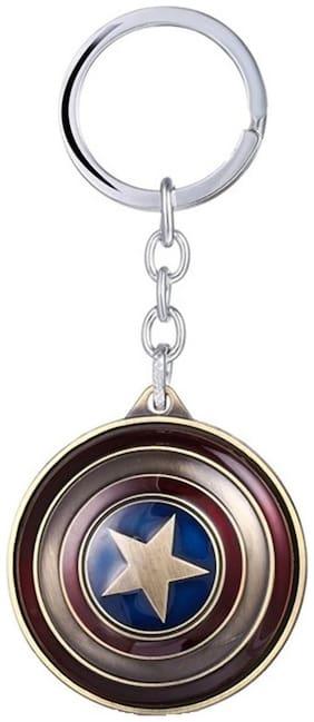 GCT Rotating Captain America Shield Avengers Superhero (KC-1) Antique Gold Metal Keychain for Car Bike Men Women Keyring