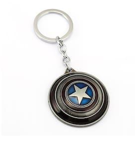 GCT Rotating Captain America Shield Avengers Superhero (KC-1) Grey Metal Keychain for Car Bike Men Women Keyring